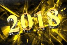 Nouvelle année 2018 en verre avec des caustiques jaunes Photos stock