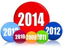 Nouvelle année 2014 et années précédentes en cercles colorés Image libre de droits