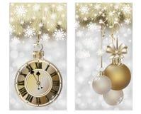 Nouvelle année et bannières de Joyeux Noël, vecteur Image libre de droits