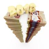 Nouvelle année 2016 et pile du dollar canadien Image stock