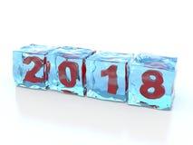 Nouvelle année 2018 gelée en glaçons Images libres de droits