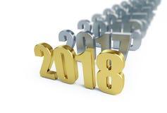 Nouvelle année 2018 illustrations 3D sur un fond blanc Image libre de droits