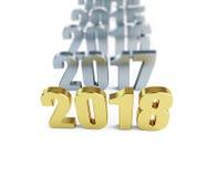 Nouvelle année 2018 illustrations 3D sur un fond blanc Photo libre de droits