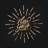 Nouvelle année 2019 Label 2019 de lettrage de main d'or de bonne année Logo tiré par la main pour la carte de nouvelle année, l'a Illustration Stock