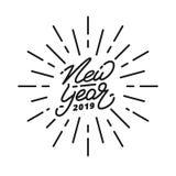 Nouvelle année 2019 Label de lettrage de main de la bonne année 2019 Logo tiré par la main pour la carte de nouvelle année, l'aff Image libre de droits