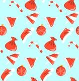 Nouvelle année rouge et bonbons blancs à modèle d'objets sans couture sur le fond bleu illustration stock