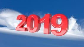 Nouvelle année 2019 rouge sur un fond de neige d'hiver image libre de droits