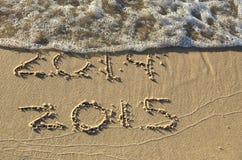 Nouvelle année 2015 sur la plage Photos libres de droits