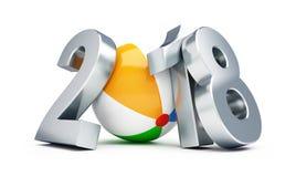 Nouvelle année 2018 sur le ballon de plage sur une illustration blanche du fond 3D, rendu 3D Photo libre de droits