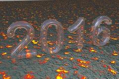 Nouvelle année 2016 sur le fond du feu Photographie stock
