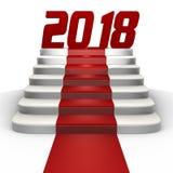 Nouvelle année 2018 sur un tapis rouge - une image 3d illustration stock