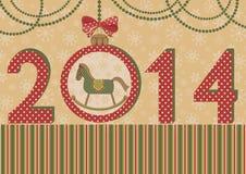 Nouvelle année 2014 avec le cheval et la boule Images libres de droits