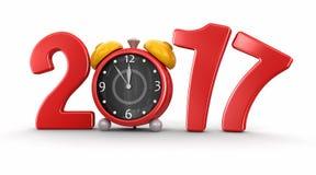 Nouvelle année 2017 avec le réveil Images stock