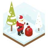 Nouvelle année de Santa Claus Grandfather Frost Bag Gifts Images libres de droits