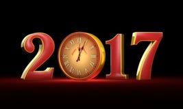 Nouvelle année 2017 Noël Chiffres de rouge et d'or, minuit Fabul Photo libre de droits