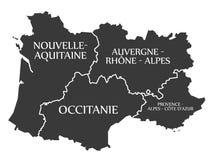 Nouvelle - Aquitaine - Occitanie - Auvergne - Provence Map France Stock Photography
