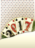 Nouvelle bannière de casino de 2017 ans avec des cartes de tisonnier Photos libres de droits