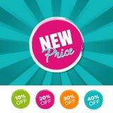 Nouvelle bannière et 10% de couleur des prix, 20%, 30% et 40% outre des marques Illustration de vecteur Photo libre de droits