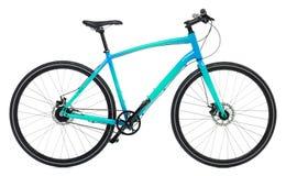 Nouvelle bicyclette bleue d'isolement sur un blanc Photographie stock libre de droits