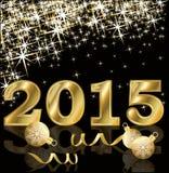 Nouvelle carte d'or de 2015 ans illustration stock