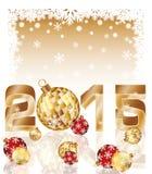 Nouvelle carte heureuse de 2015 ans avec des boules de Noël Photographie stock