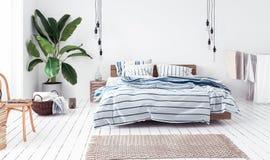 Nouvelle chambre à coucher scandinave de style de boho Photographie stock