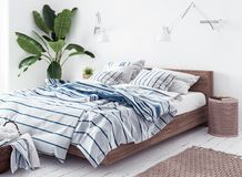 Nouvelle chambre à coucher scandinave de style de boho Image stock