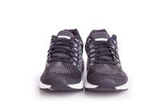 Nouvelle chaussure noire d'espadrilles Pris au studio et d'isolement sur le blanc Photo stock