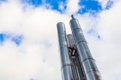 Nouvelle cheminée en chrome pour la chauffage Photos libres de droits