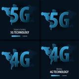 nouvelle connexion sans fil de wifi de l'Internet 5G et 4G Bannière pour le media social Illustration de vecteur illustration stock