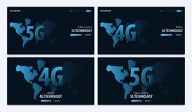 nouvelle connexion sans fil de wifi de l'Internet 5G et 4G Site Web ou page mobile d'atterrissage d'APP Illustration de vecteur illustration libre de droits