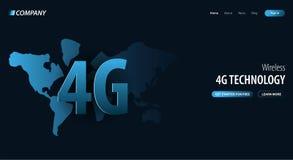 nouvelle connexion sans fil de wifi de l'Internet 4G Site Web ou page mobile d'atterrissage d'APP Illustration de vecteur illustration libre de droits