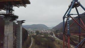 Nouvelle construction de pont de chemin de fer - Stuttgart 21, Aichelberg banque de vidéos