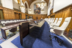 Nouvelle Cour internationale de Justice Courtroom photographie stock libre de droits