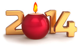 Nouvelle décoration brûlante de flamme de bougie de Noël de 2014 ans Image libre de droits
