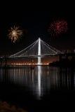 Nouvelle envergure est de tir de nuit de pont de baie Photographie stock libre de droits