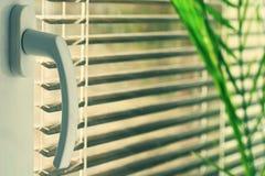 Nouvelle fenêtre en plastique moderne et salles intérieures Abat-jour dans une maison attrapant la lumière du soleil Photographie stock