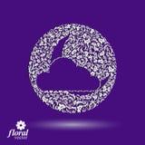 Nouvelle lune derrière une belle illustration d'art de nuage, lulla floral Photos libres de droits