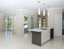 Nouvelle maison contemporaine avec le banc de granit et le plancher carrelé images libres de droits