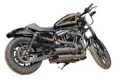 Nouvelle moto noire sur un fond blanc Photo stock