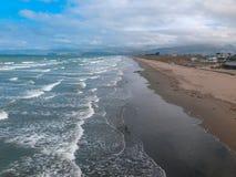 Nouvelle plage de Brighton, Cantorbéry, île du sud, Nouvelle-Zélande photographie stock