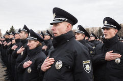 Nouvelle police de patrouille de l'Ukraine Photographie stock
