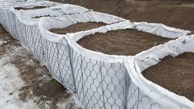 Nouvelle protection d'inondation de barrières de bac à sable images stock