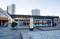 Nouvelle rue d'Arbat en quelques vacances de Noël et de nouvelle année, Moscou, Russie Image libre de droits