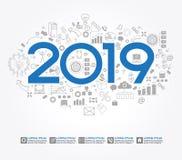 nouvelle stratégie de la réussite commerciale 2019 illustration libre de droits