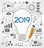 nouvelle stratégie de la réussite commerciale 2019 illustration stock