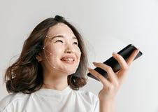 Nouvelle technologie de la reconnaissance des visages sur la grille polygonale images libres de droits