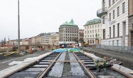 Nouvelle tramway de construction Images libres de droits