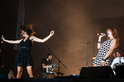 Nouvelle vague band. Nouvelle vague on stage at the Bucharest Greensounds festival 2015 going wild Royalty Free Stock Photography