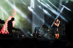 Nouvelle vague live performance. Nouvelle vague on stage at the Bucharest Greensounds festival 2015 going wild Royalty Free Stock Photography